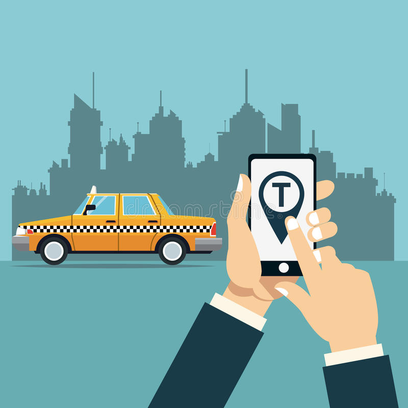 Hand hold mobile taxi service online app city background vector illustration