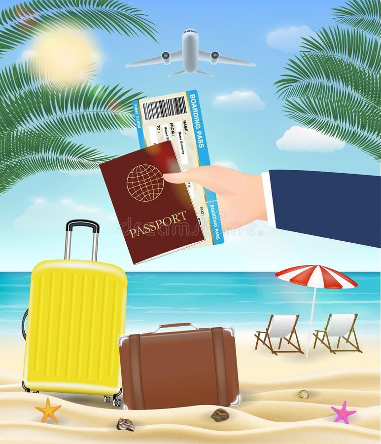 Hand hold passport boarding pass travel to beach stock illustration