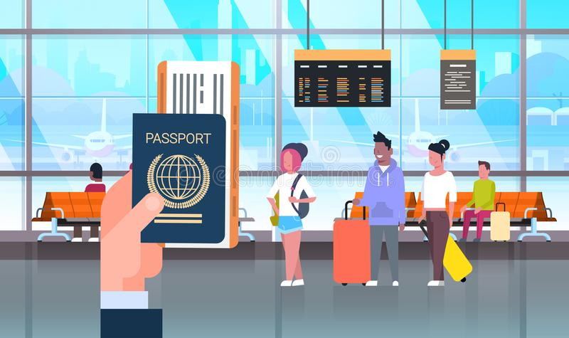 Hand Hold Passport And Ticket Over People In Airport On Backgroound Travelers With Baggage At Waiting Hall. Flat Vector Illustration stock illustration