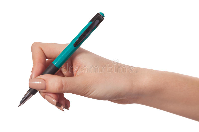 Hand hold a pen writing on the white. Hand is holding a pen writing on the white background royalty free stock photos