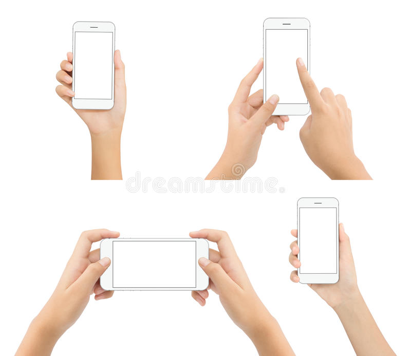 Hand hold phone blank screen isolated on white background, mock-up white phone stock images
