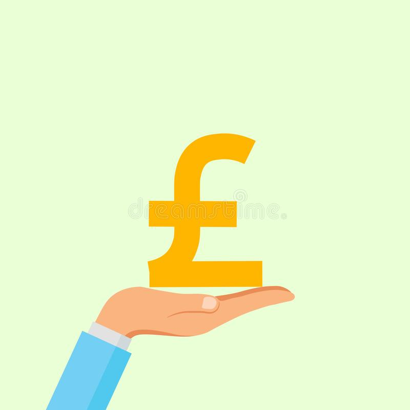 Hand hold pound sign, coin isolated on background. Money, currency icon. Cash symbol. Business, economy concept. Vector flat royalty free stock photography