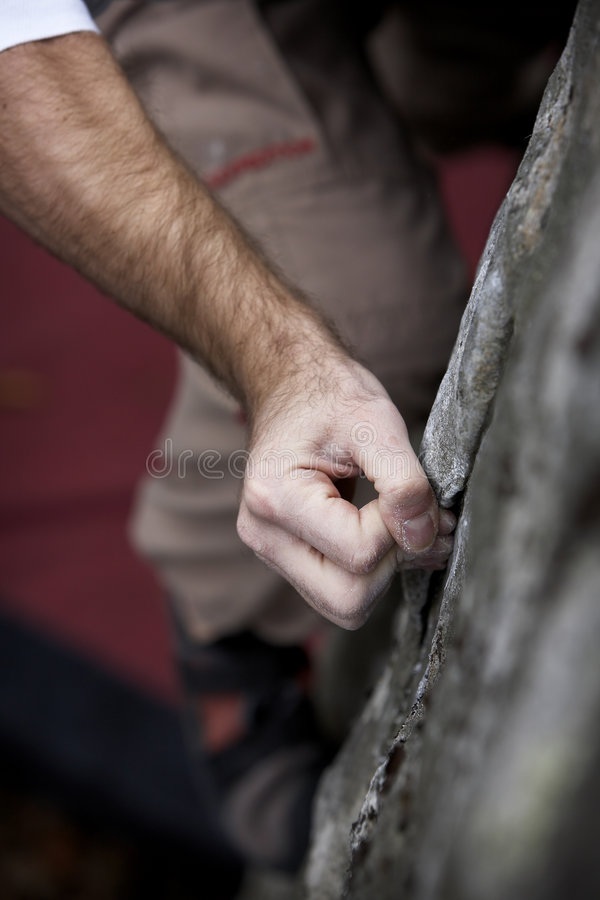 Hand hold - Rock climbing series royalty free stock photography