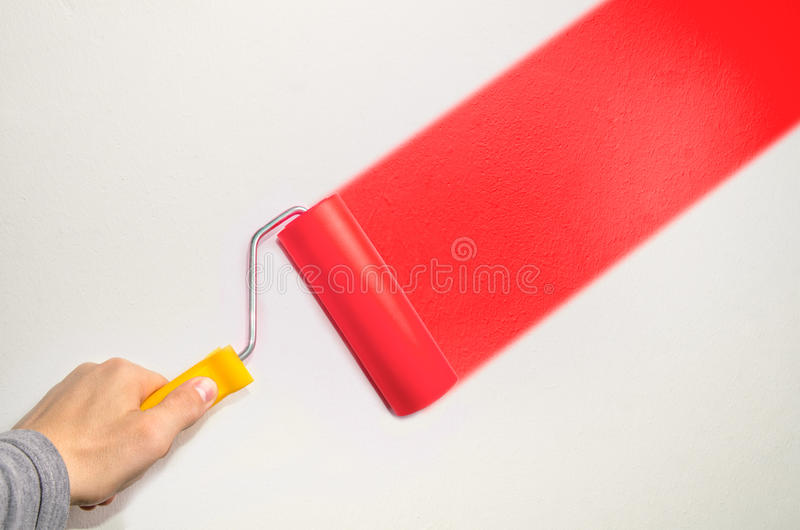 Hand hold roll tool for painting. Or burnishing , finishing work, close up photo royalty free stock images