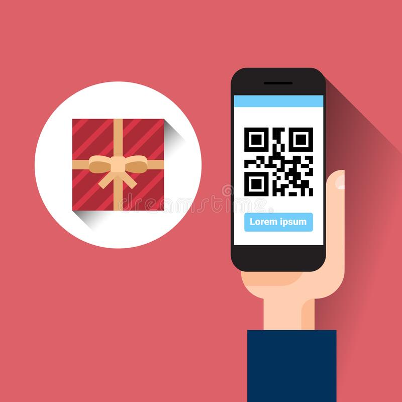 Hand Hold Smart Phone Scanning Qr Code With Gift Box Message royalty free illustration