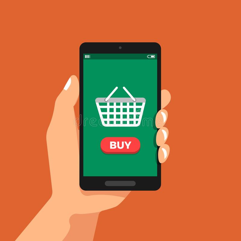 Hand hold smartphone shopping online vector illustration