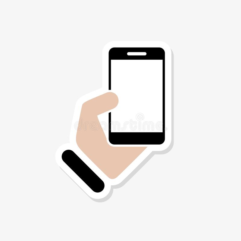 Hand hold the smartphone sticker for graphic design vector illustration