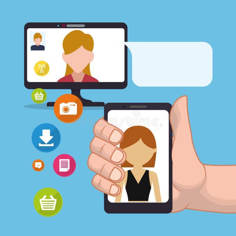 Hand hold smartphone woman sending email social media. Illustration stock illustration
