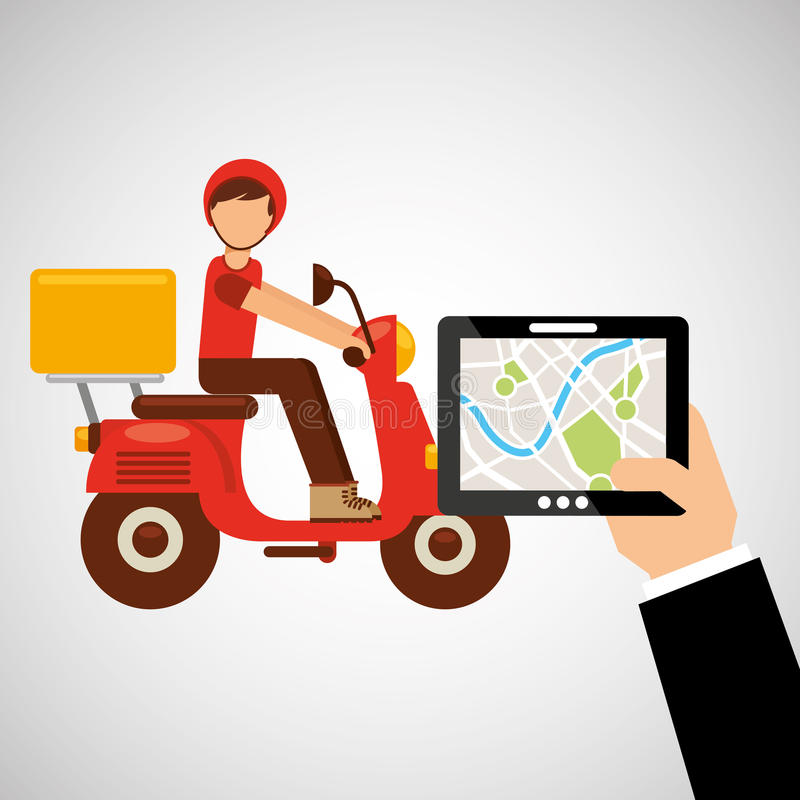 Hand hold tablet delivery food boy royalty free illustration