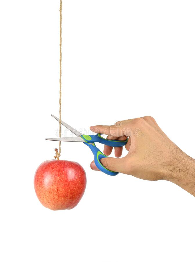 Free Hand Hold The Scissors Try To Cut Rope That Hang Apple. Royalty Free Stock Images - 180964579