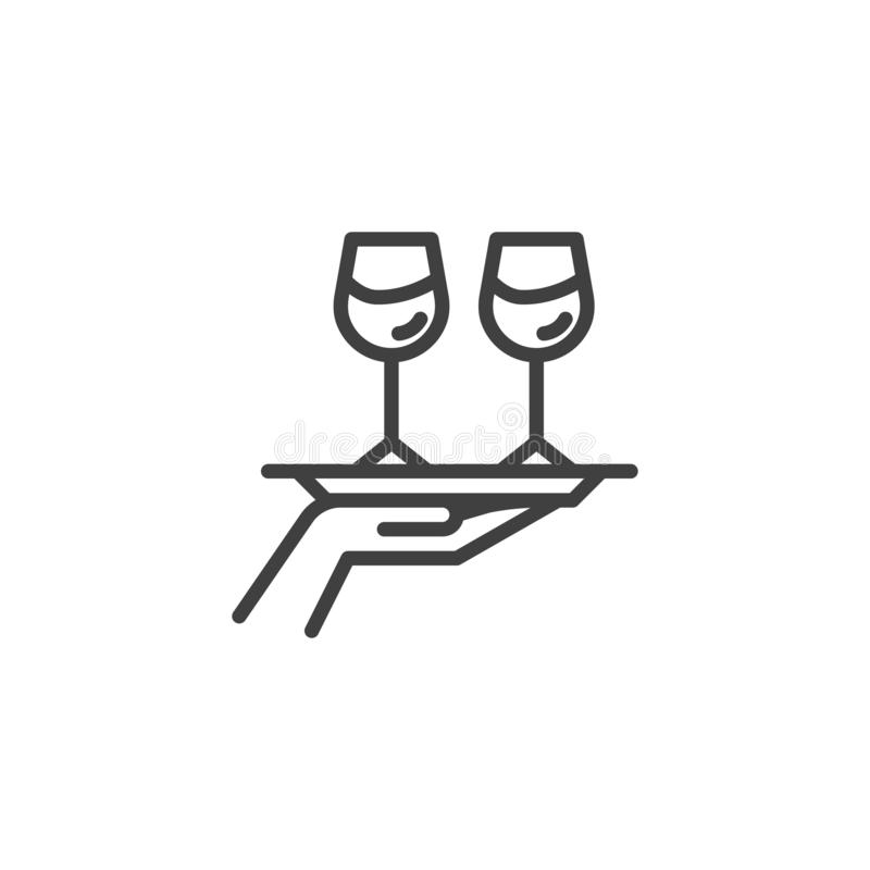 Hand hold tray with wine glasses line icon stock illustration