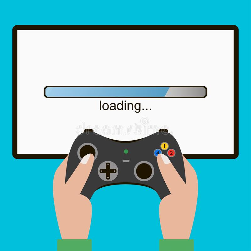 Hand hold video game controller, gamepad. Screen with loading bar. Gaming concept. Vector. vector illustration