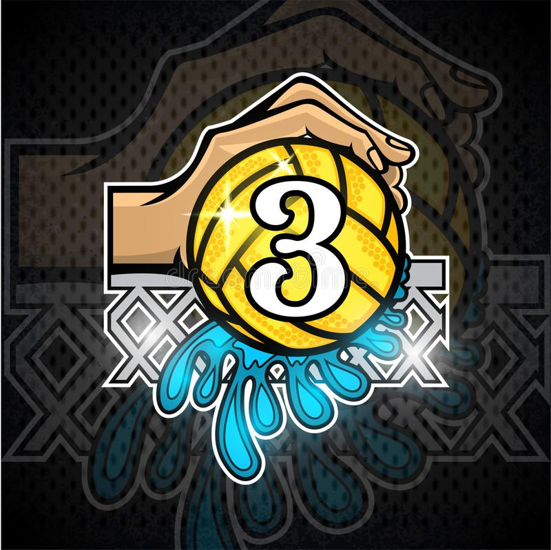Hand hold water polo ball with water splash and number three in the middle. Vector sport logo on blackboard for any team. Or competition royalty free illustration