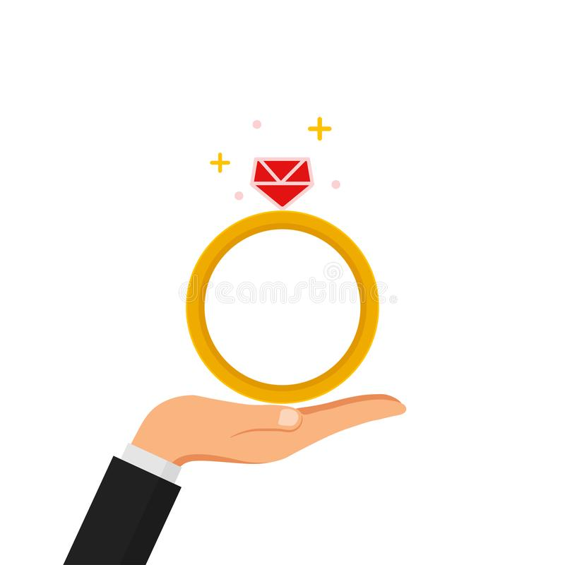 Hand hold wedding, engagement ring with diamond isolated on white background. Marriage concept. Vector flat design.  royalty free illustration