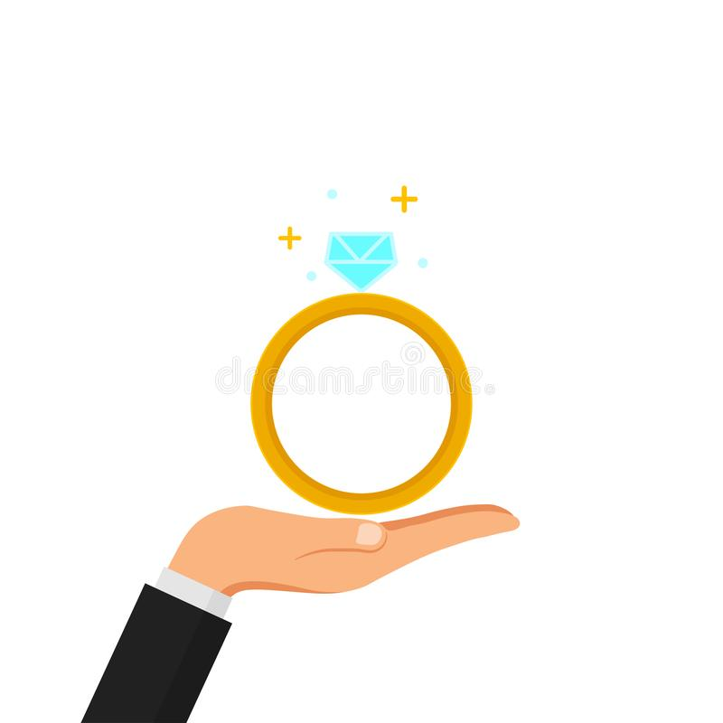 Hand hold wedding, engagement ring with diamond isolated on white background. Marriage concept. Vector flat design.  vector illustration