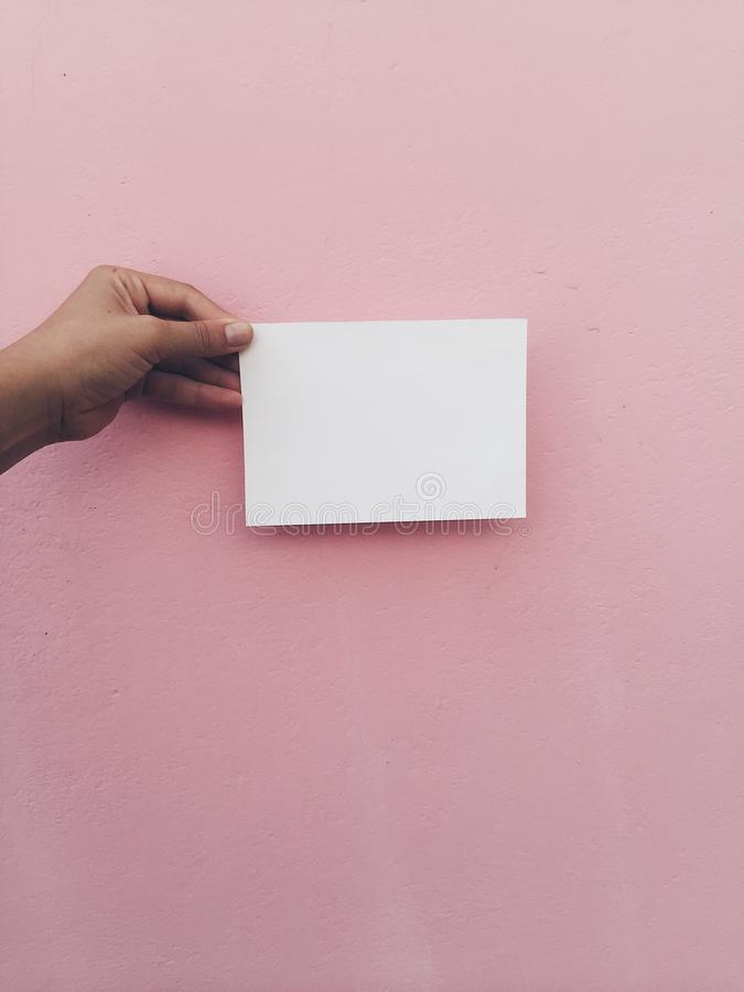 Hand hold white card at pink wall background stock photography