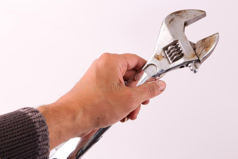Hand hold wrench stock photos