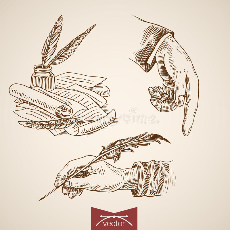 Hand hold writing poetry engraving lineart vector retro vintage. Hand hold writing feather inkwell pointer documents poetry prose creative writer icon set royalty free illustration