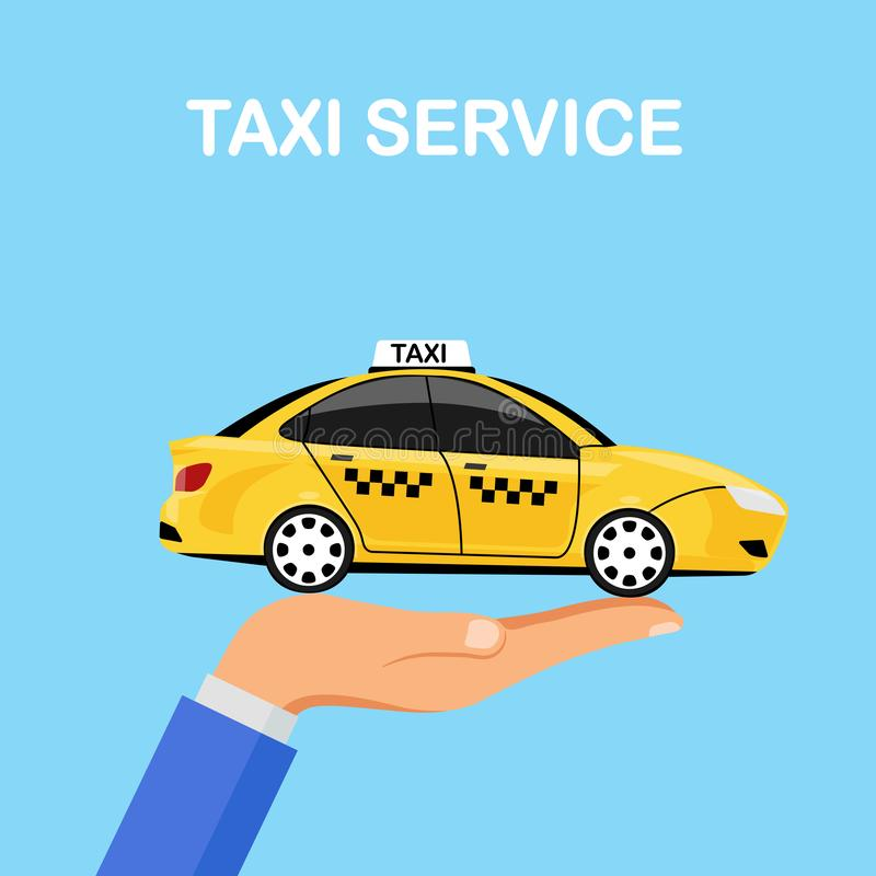 Hand hold yellow taxi car isolated on background. Cab service, automobile. City passenger transport. Vector flat illustration stock images