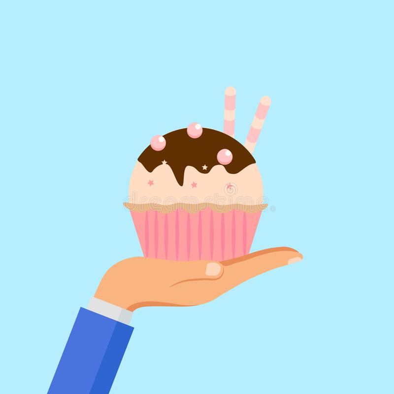 Hand hold yummy cake, muffin isolated on background. Colorful sweet homemade bakery with chocolate. Tasty cupcake. Party, royalty free illustration