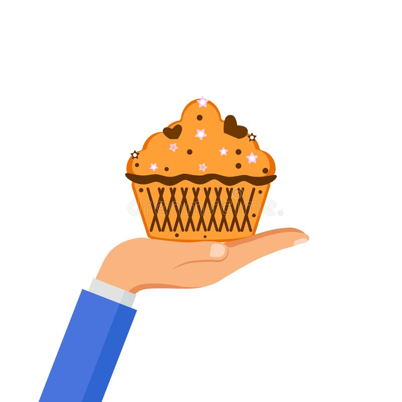 Hand hold yummy cake, muffin isolated on background. Colorful sweet homemade bakery with chocolate. Tasty cupcake. Party, royalty free stock photos