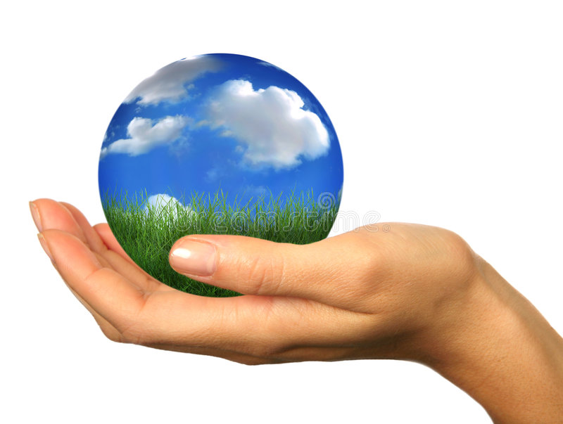 Hand Holding A 3D Globe Landscape Planet Earth Stock Photos