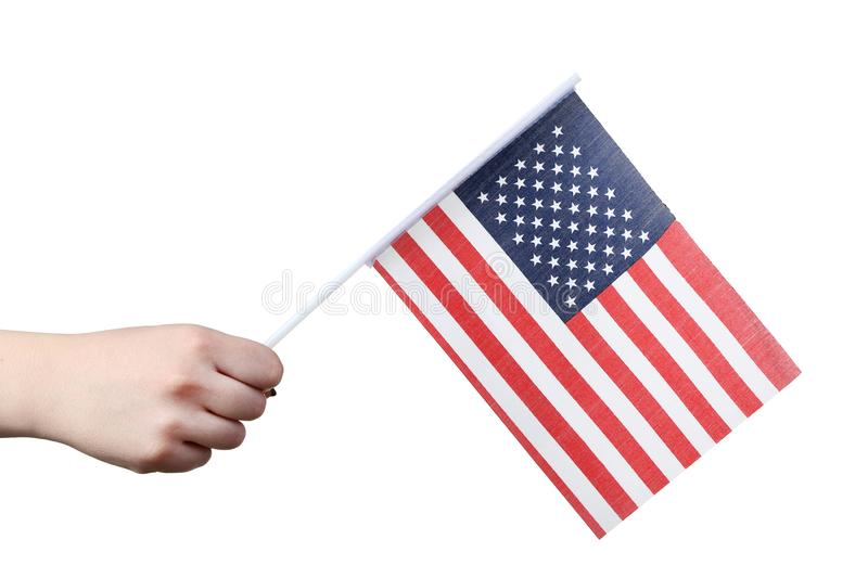Hand holding american flag. Female hand holding american flag on white background royalty free stock images