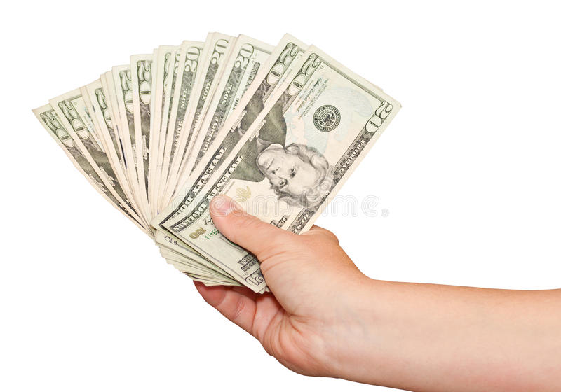 Hand Holding American Money On A White Background Stock Photos