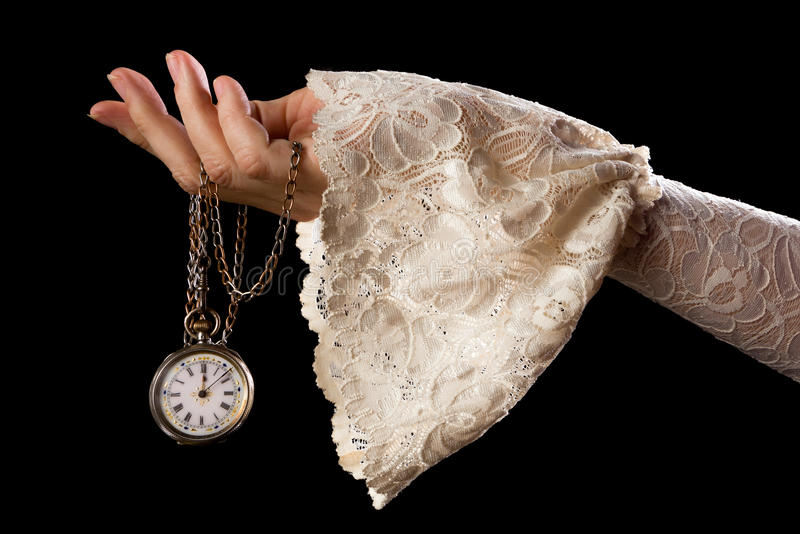 Hand holding antique watch. Female hand in lace sleeve holding an antique pocket watch on a chain royalty free stock photo