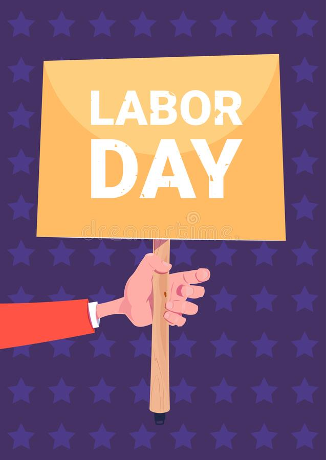 Hand Holding Banner Labor Day Holiday Poster Background stock illustration