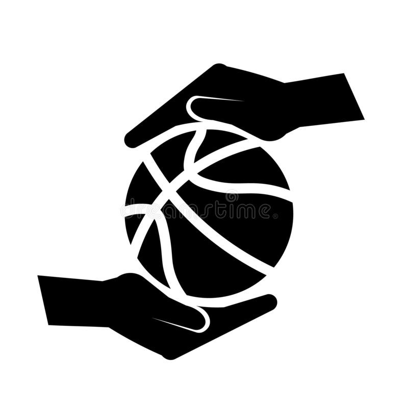 Hand Holding A Basketball Icon Vector royalty free illustration