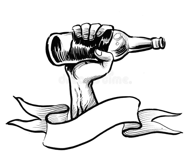 Hand with a bottle stock illustration
