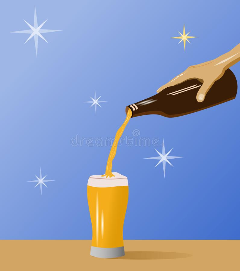 Hand holding a beer bottle pouring into a glass with blue background stock image