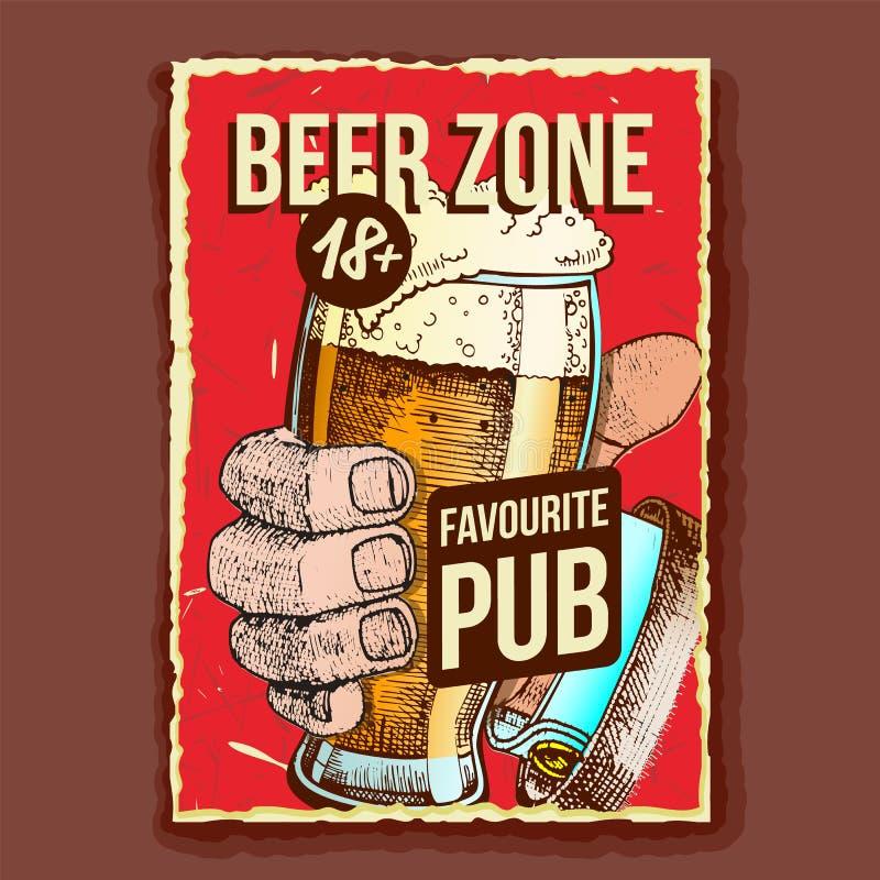 Hand Holding Beer Glass Rekltising Banner Vector royaltyfri illustrationer