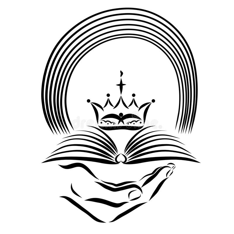 Hand holding the Bible, crown and rainbow, revelation stock illustration