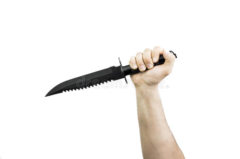 Hand Holding Big Black Hunter Knife royalty free stock photo