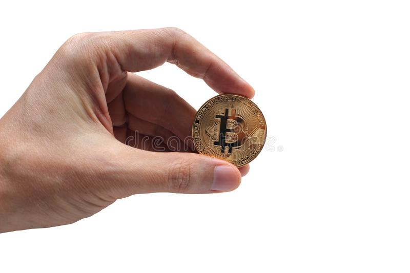 Hand holding bitcoin and blockchain digital technology on a whit. E background, currency blockchain technology concept royalty free stock photography