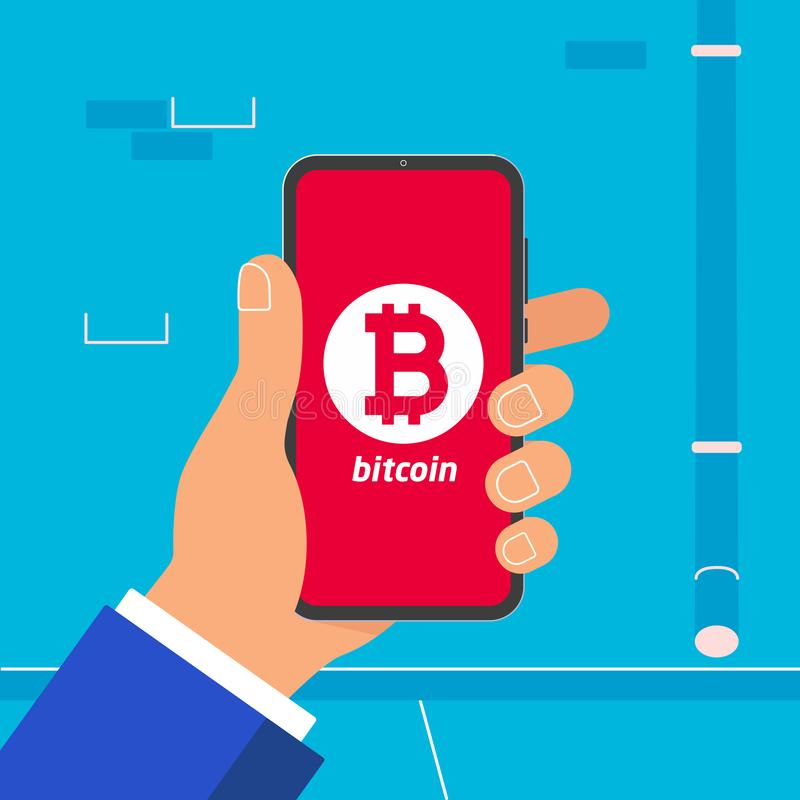 Hand holding black mobile phone with bitcoin symbol icon on the screen isolated on light blue wall background. stock illustration