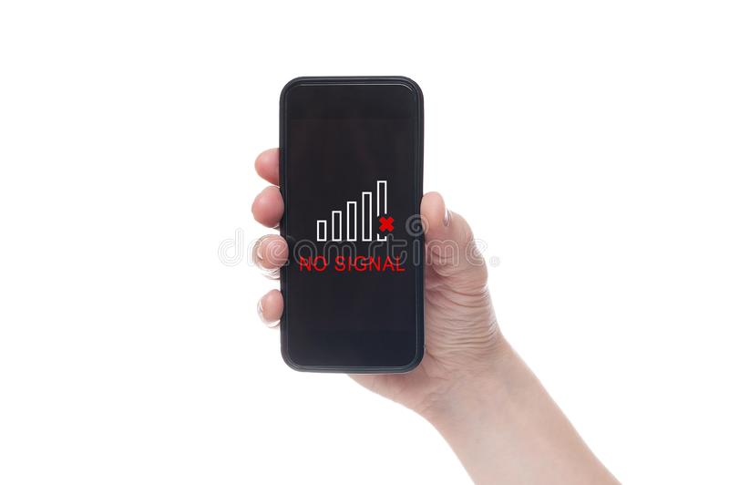 Hand holding black Smartphone with blank screen on white backgroun royalty free stock photography