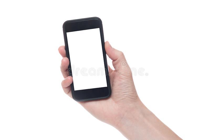 Hand holding black Smartphone with blank screen on white backgroun stock photo