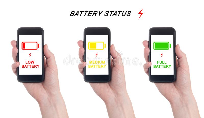 Hand holding black Smartphone with blank screen on white backgroun. Battery charge indicator. Charging level Battery royalty free stock photo