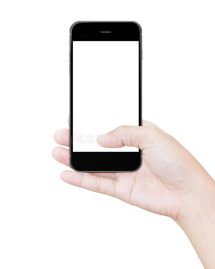 Hand holding black smartphone clipping path screen display. Isolated on white royalty free stock photos