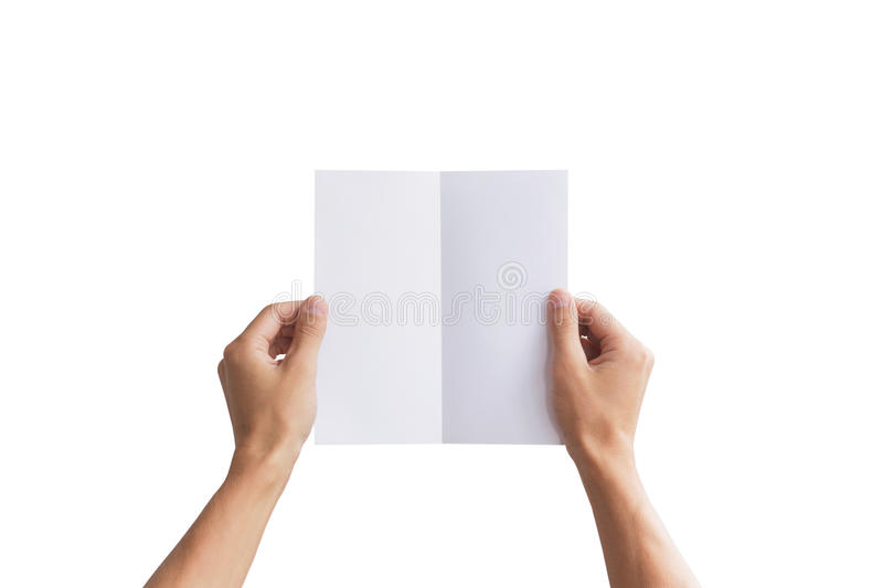 Hand holding blank brochure booklet in the hand. Leaflet present. Ation. Pamphlet hand man. Man show offset paper. Sheet template. Book in hands. Booklet folding stock images