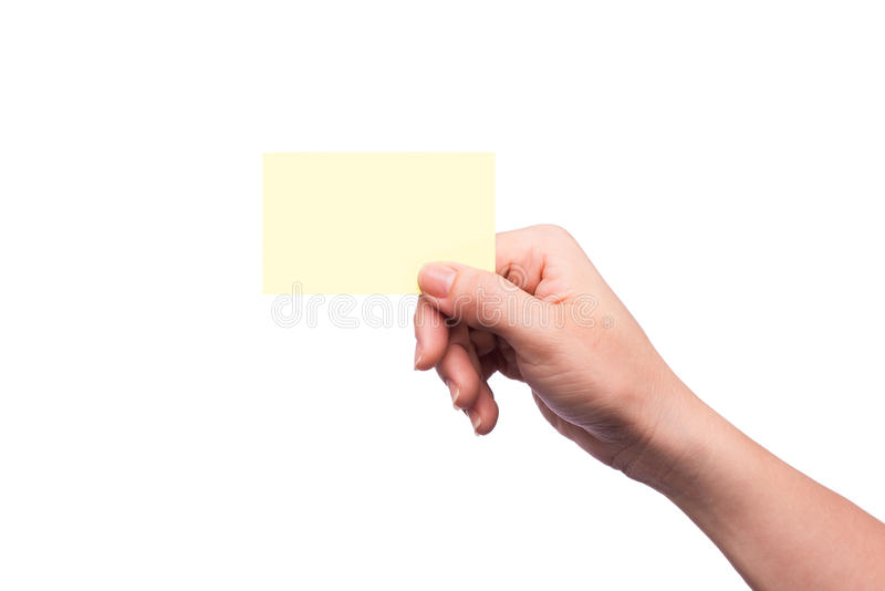 Hand holding blank business card isolated stock photos