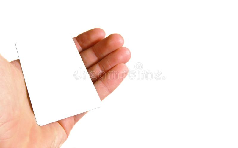 Hand holding blank card royalty free stock photography