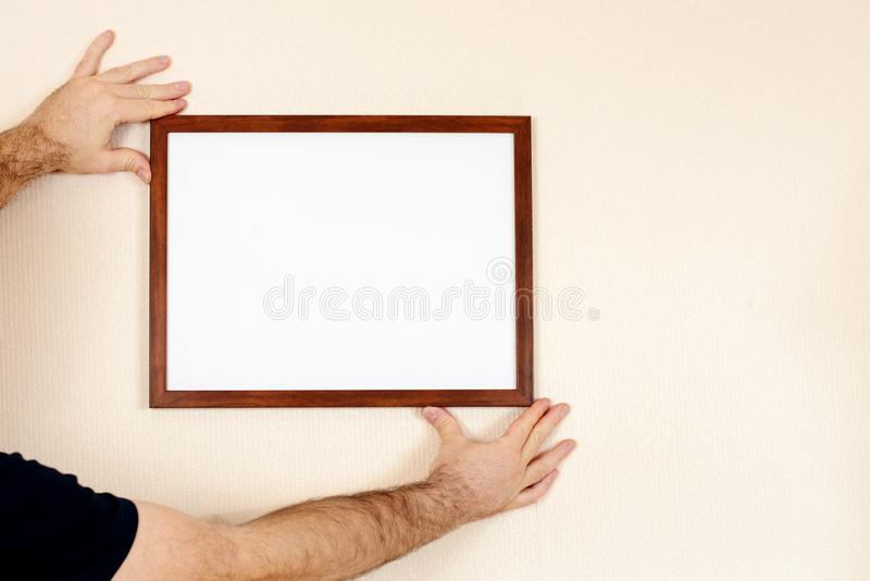 Hand holding Blank Envelope Mock-up, ready to replace your design. stock images
