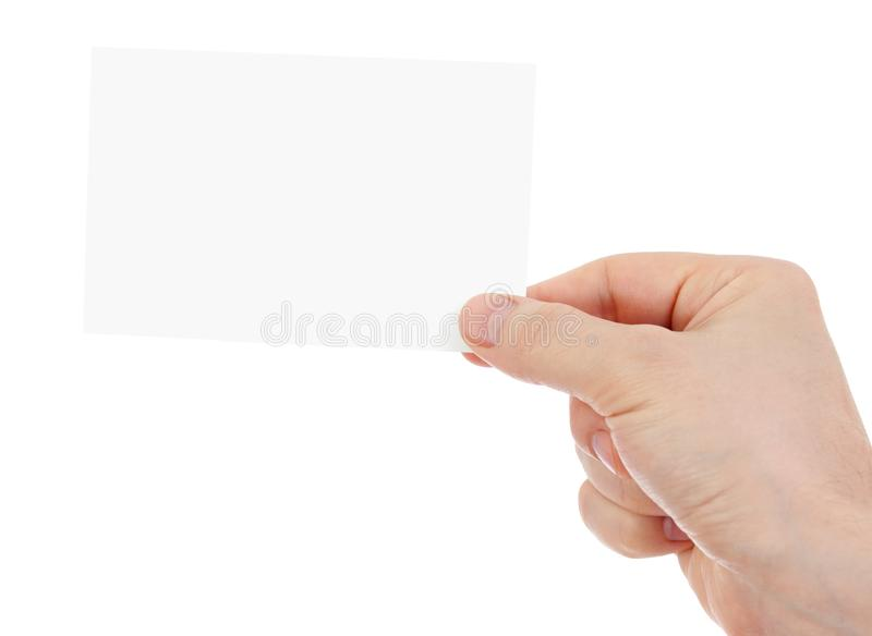 Hand holding blank paper card isolated with two clipping paths included - one with hand and the second with card. stock image