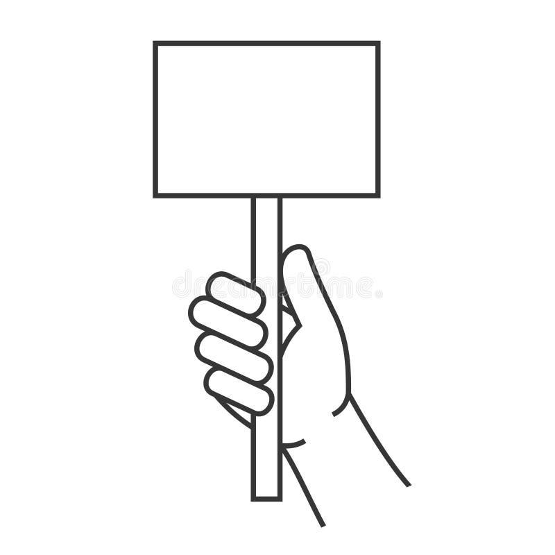 Hand Holding Blank Score Card Sign. Vector stock illustration