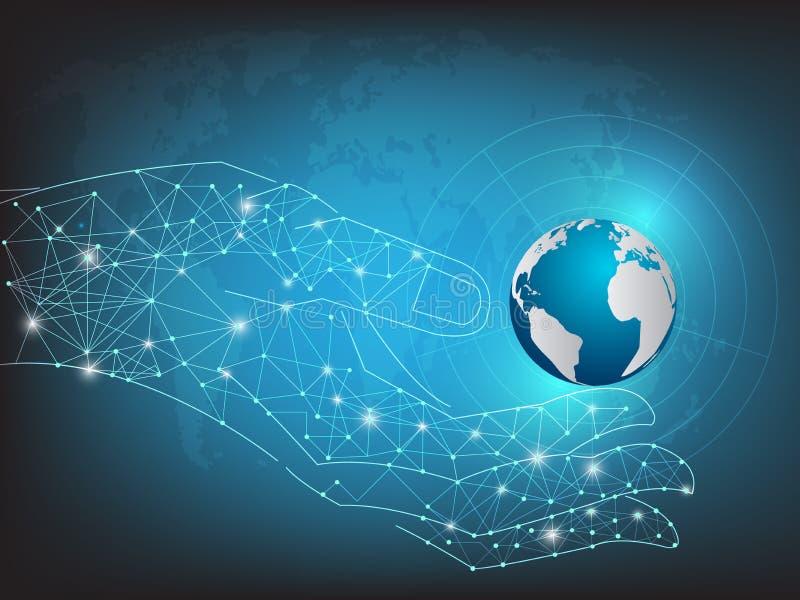 Hand holding blue planet on technology background.vector illustration. royalty free illustration