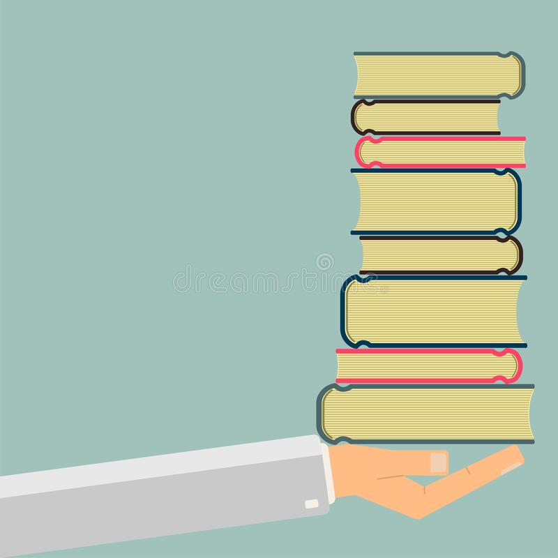Hand holding a books. Science and education. Vector illustration stock photo